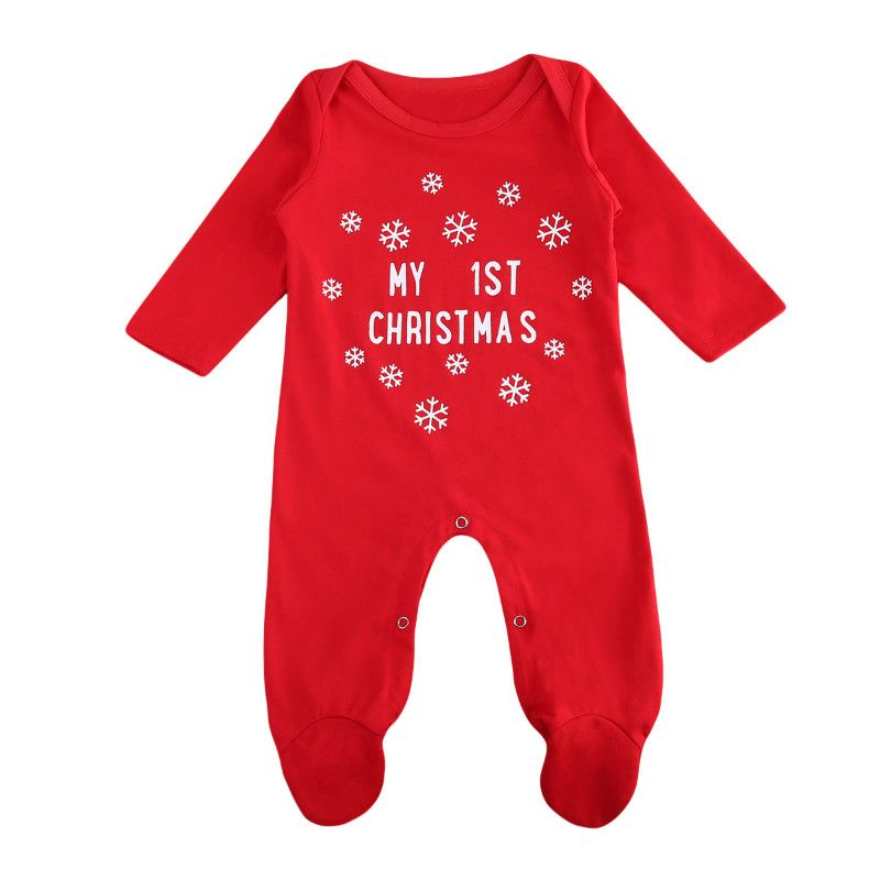 Pudcoco Snow Print Girls Red Christmas Fashion Rompers Bebe My 1st