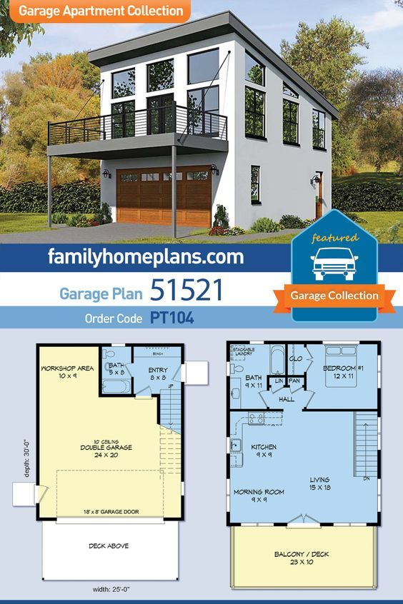 Modern Style 2 Car Garage Apartment Plan Number 51521 with 1 Bed, 2 Bath