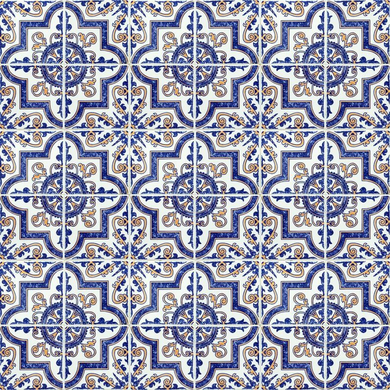 Blue Moroccan Tile Repositionable Removable Wallpaper Peel Etsy In 2020 Fabric Wallpaper Blue Moroccan Tile Removable Wallpaper
