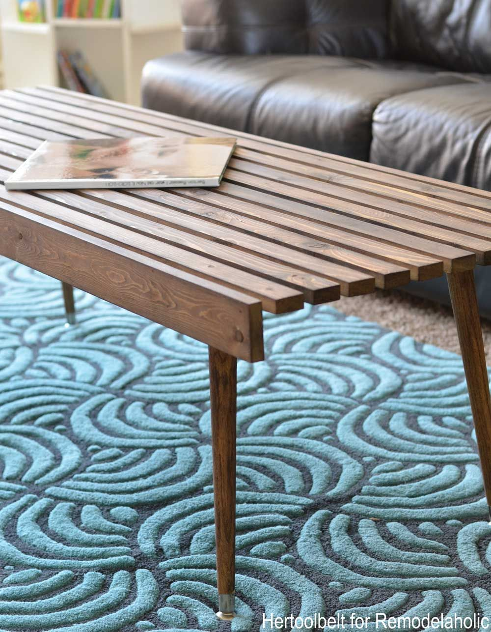 Diy Modern Coffee Table Side Close Up Diy Coffee Table Coffee Table Modern Diy [ 1286 x 1000 Pixel ]