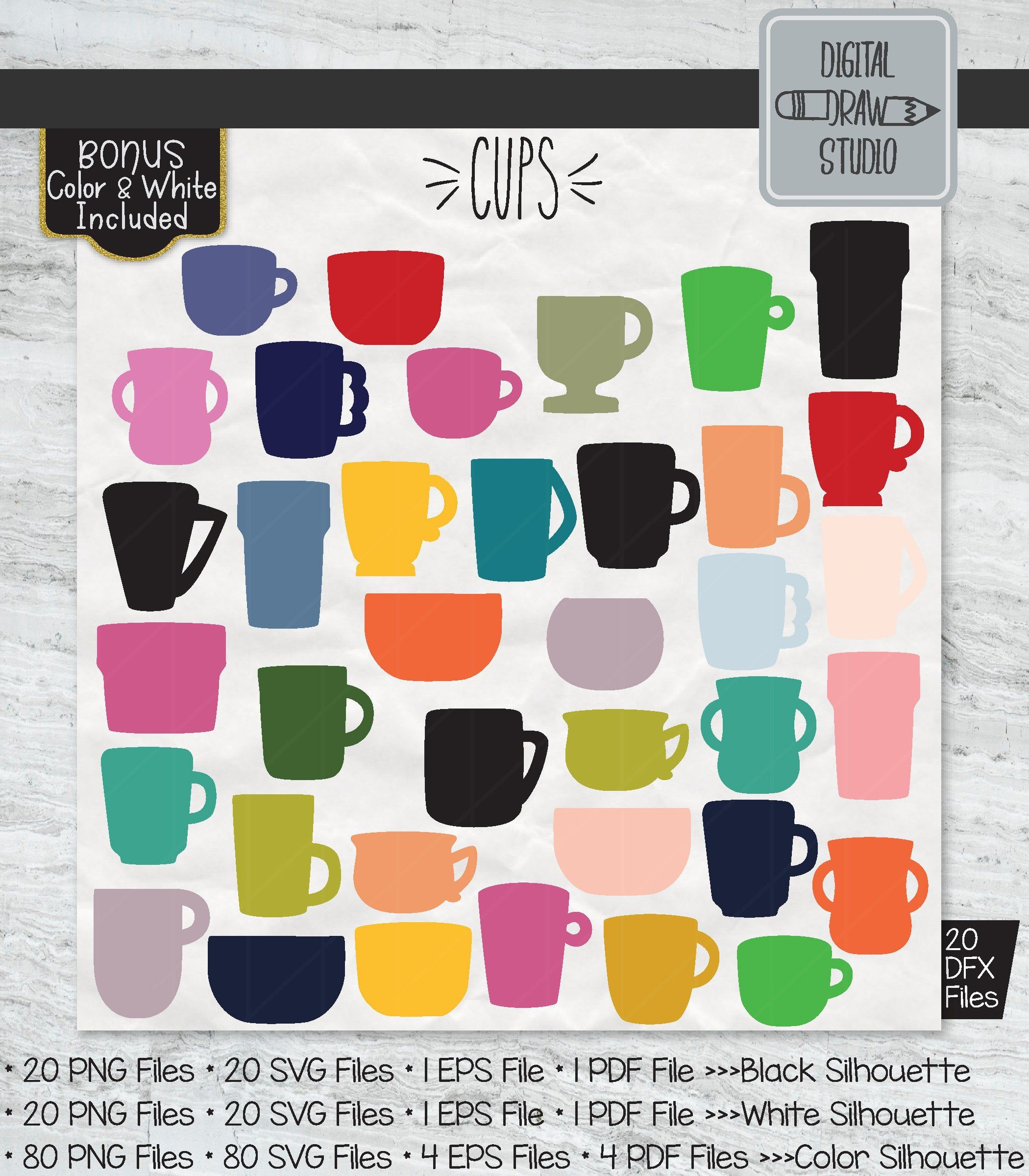 120 Cup Silhouette Clip Art Hand Drawn Tea Cups Vector