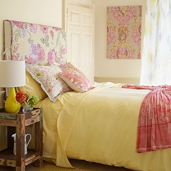 Soft pink and yellow floral bedroom | Bedroom decorating ...