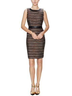 Foxe Faux-Leather Trim Sheath Dress