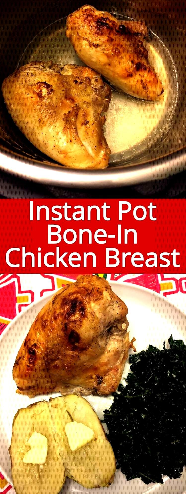 This Instant Pot bone-in chicken breast is amazing! So tender and juicy, it never dries out! Instan