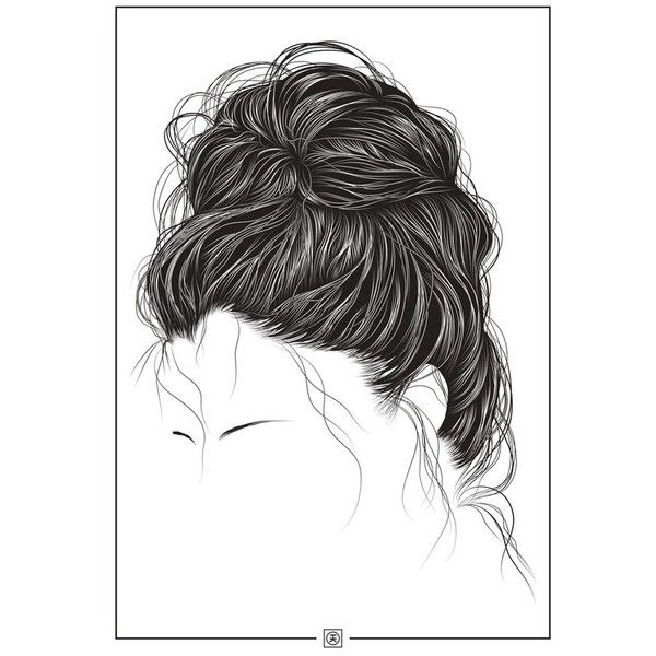 Kelvin Heslop The Messy Hair Bun Featuring Polyvore Hair Fillers Art Backgrounds Pictures Doodle And Messy Bun Hairstyles Messy Hairstyles Bun Hairstyles