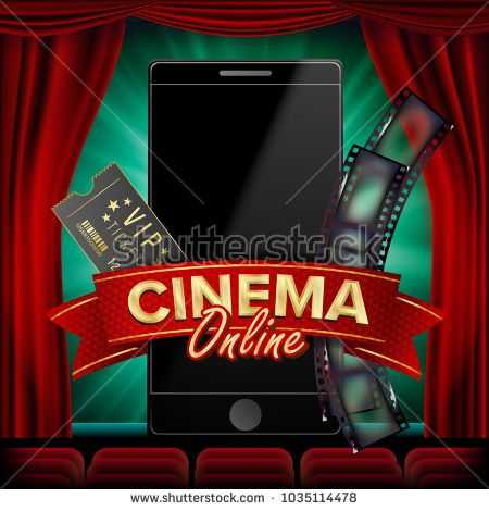 Online Cinema Poster Vector Modern Mobile Smart Phone Concept Good For Flyer Banner
