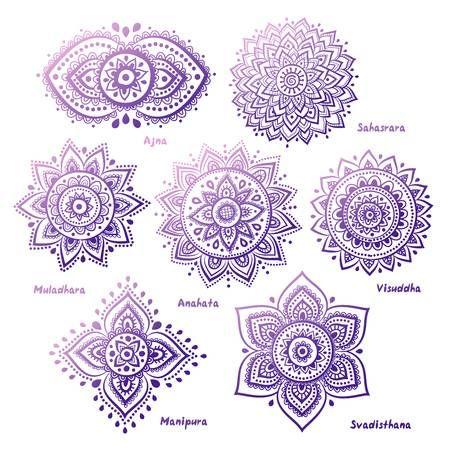 Photo of Isolated set of beautiful ornamental 7 chakras