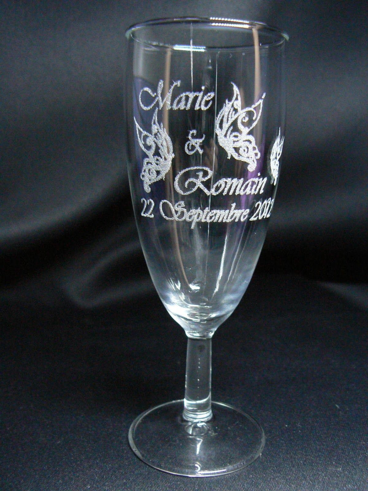 gravure sur verre verre grav flute grav e mariage bapteme coupe vin pinterest. Black Bedroom Furniture Sets. Home Design Ideas