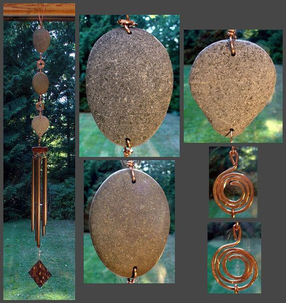 stone and copper wind chime