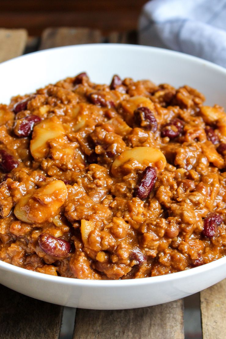 Calico Beans Recipe With Ground Beef And Bacon The Hungry Bluebird Recipe In 2020 Cowboy Beans Calico Beans Recipe Bean Recipes
