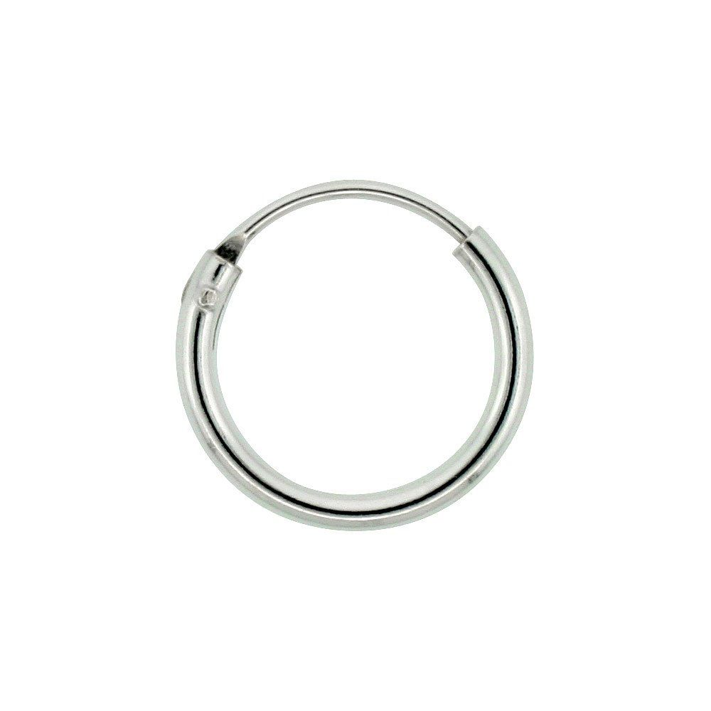 Sterling Silver Small Endless Hoop Earrings For Cartilage Nose And Lips 3 8