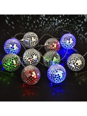 Set of 10 Multi-Coloured LED Disco Mirror Ball String Lights - Battery  Operated