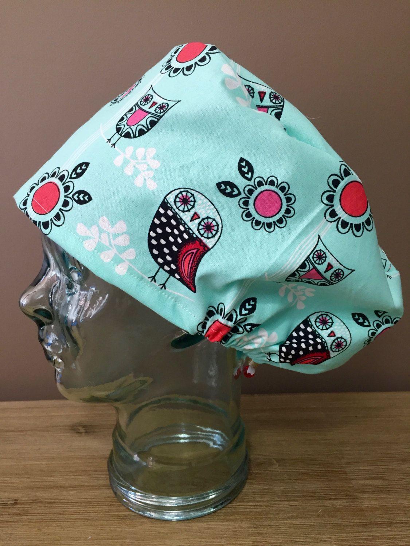 5b2d9d0dda3 Mint Owl Surgical Scrub Cap, Women's European Style Scrub Hat, Modified  Bouffant Scrub Hat, Custom Caps Company by CustomCapsCompany on Etsy