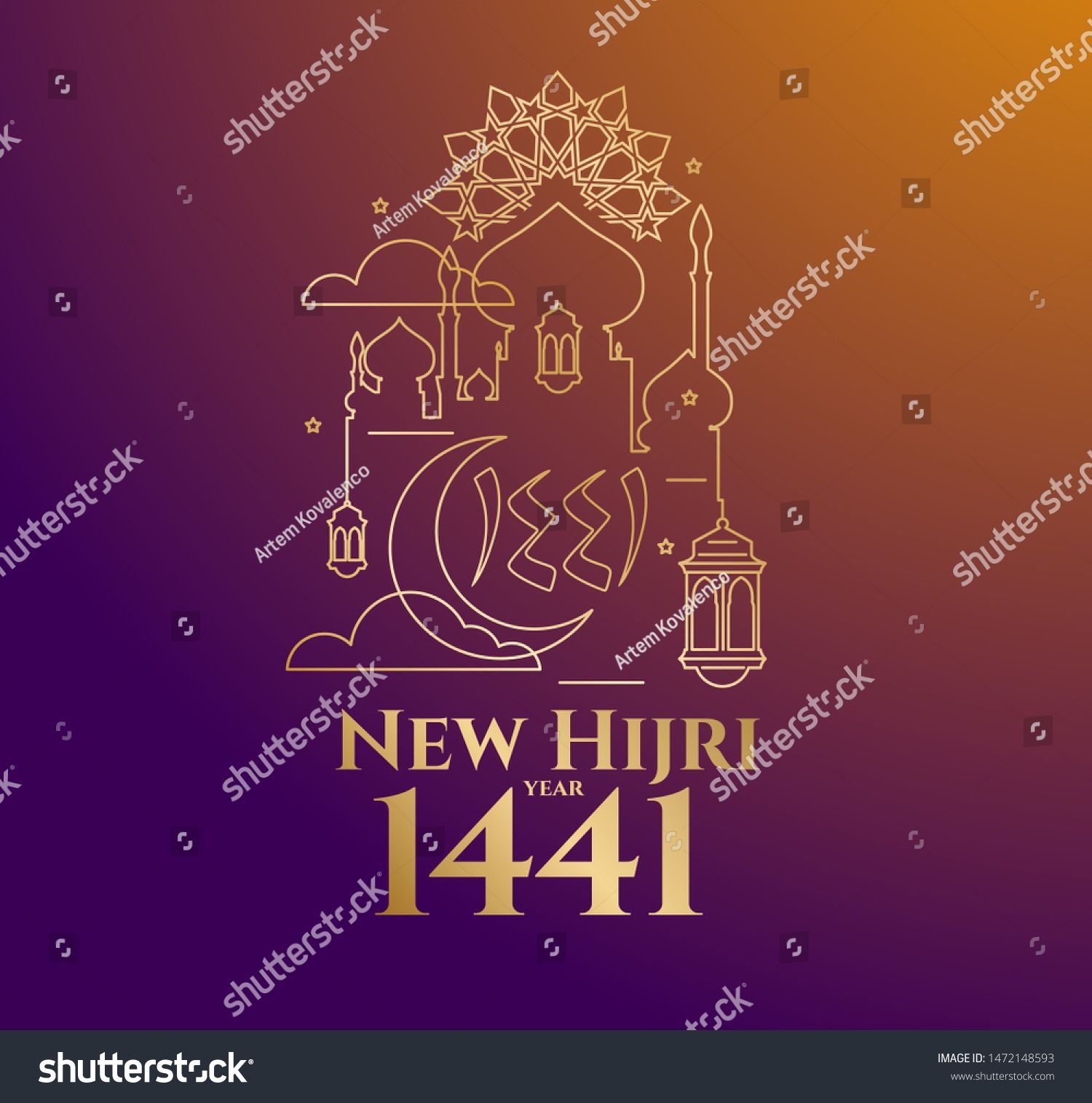 Vector Illustration Happy New Hijri Year 1441 Happy Islamic New Year Graphic Design F Happy Islamic New Year Social Media Design Graphics Vector Illustration