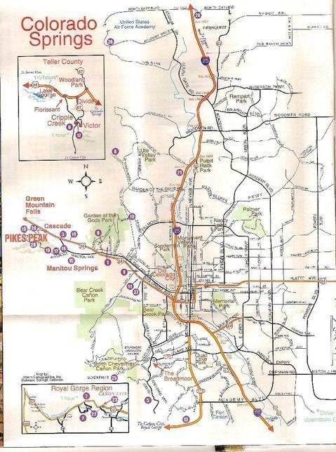 Colorado Springs Map Travel Colorado Springs Colorado Travel