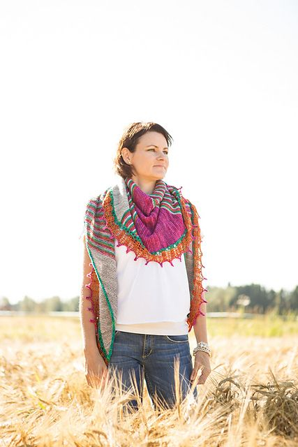 This pattern is a perfect holiday project - enough interest to keep you busy and motivated yet it's simple enough to do while chatting or watching TV. The shawl is knitted from side to side. It is shaped with increases/decreases on the other edge and short-row wedges that shape the shawl into symmetrical shape. Have fun: Use your leftovers and lonely skeins and choose 4 colors to play with!