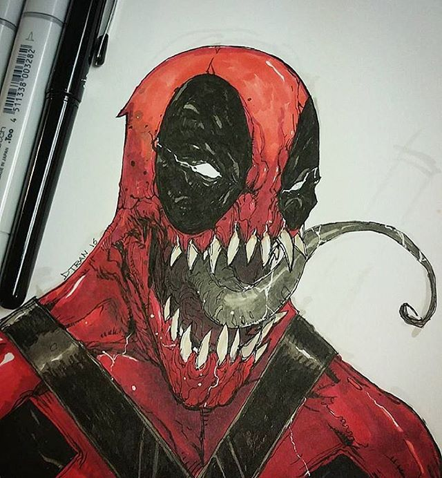 Deadvenom Venompool Which Ever It Is This Drawing Is Awesome By 1dtran Go Check Out His Account 1dtran 1dtran Deadpool Drawing Sketches Drawings