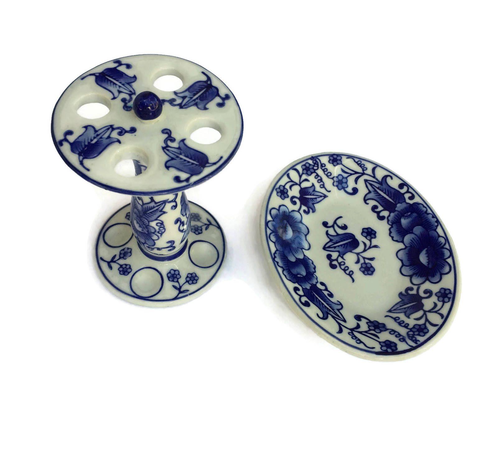 Vintage Chinese Porcelain Pedestal Soap Dish and Toothbrush Holder ...