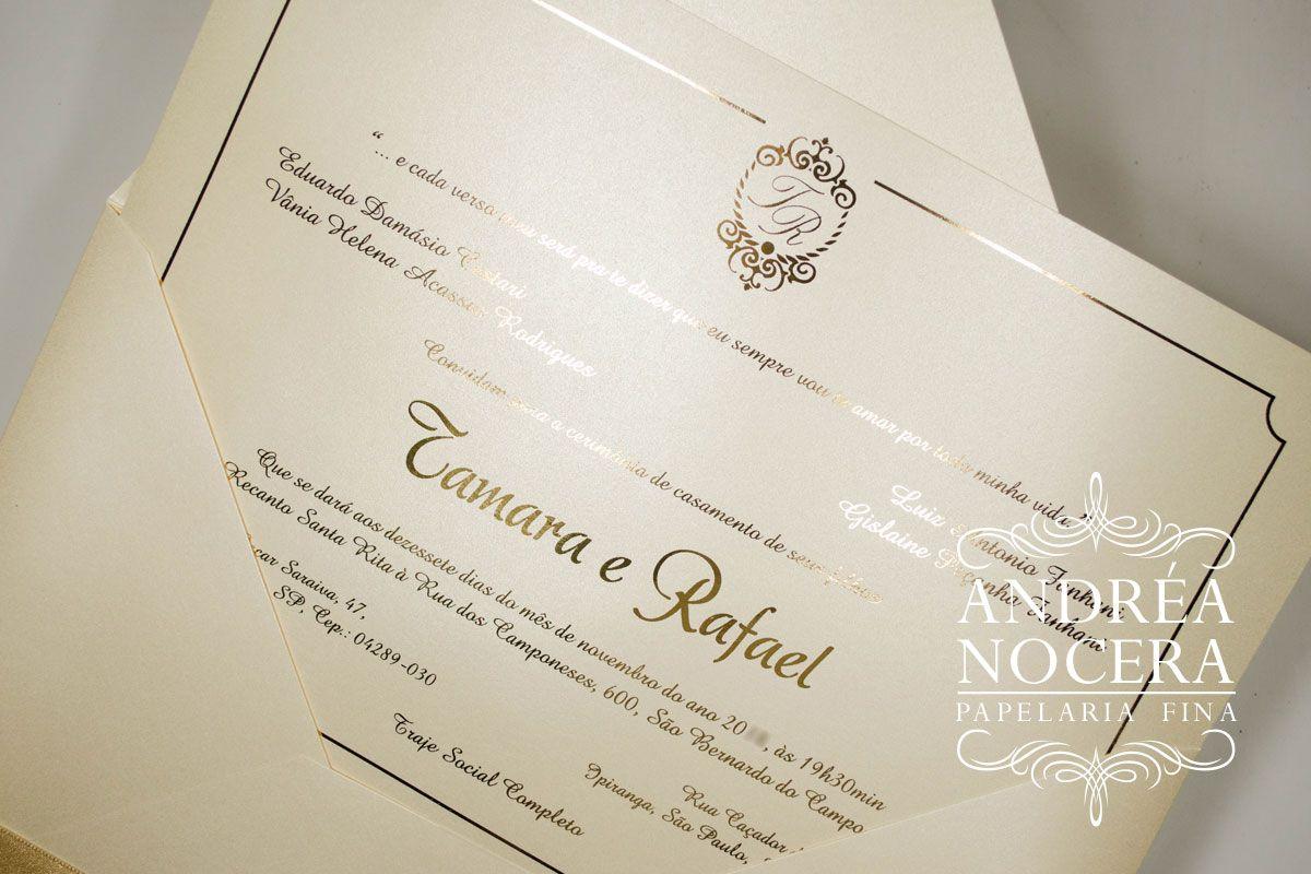 Convite De Casamento Com Impressão Em Hot Stamping Dourado
