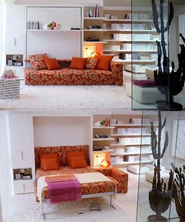 Schrankbett Wandgestaltung Ideen ausziehbares Sofa Treppe Lit