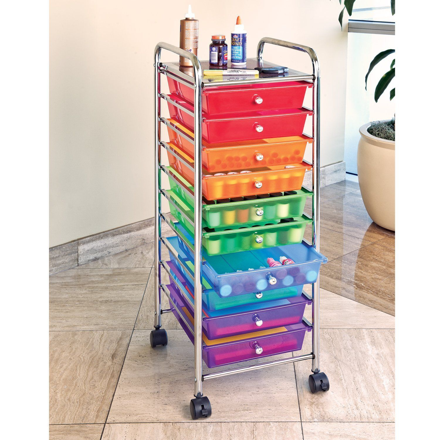 Amazon Com Seville Classics  Drawer Organizer Cart With Drawers Pearlized Multi