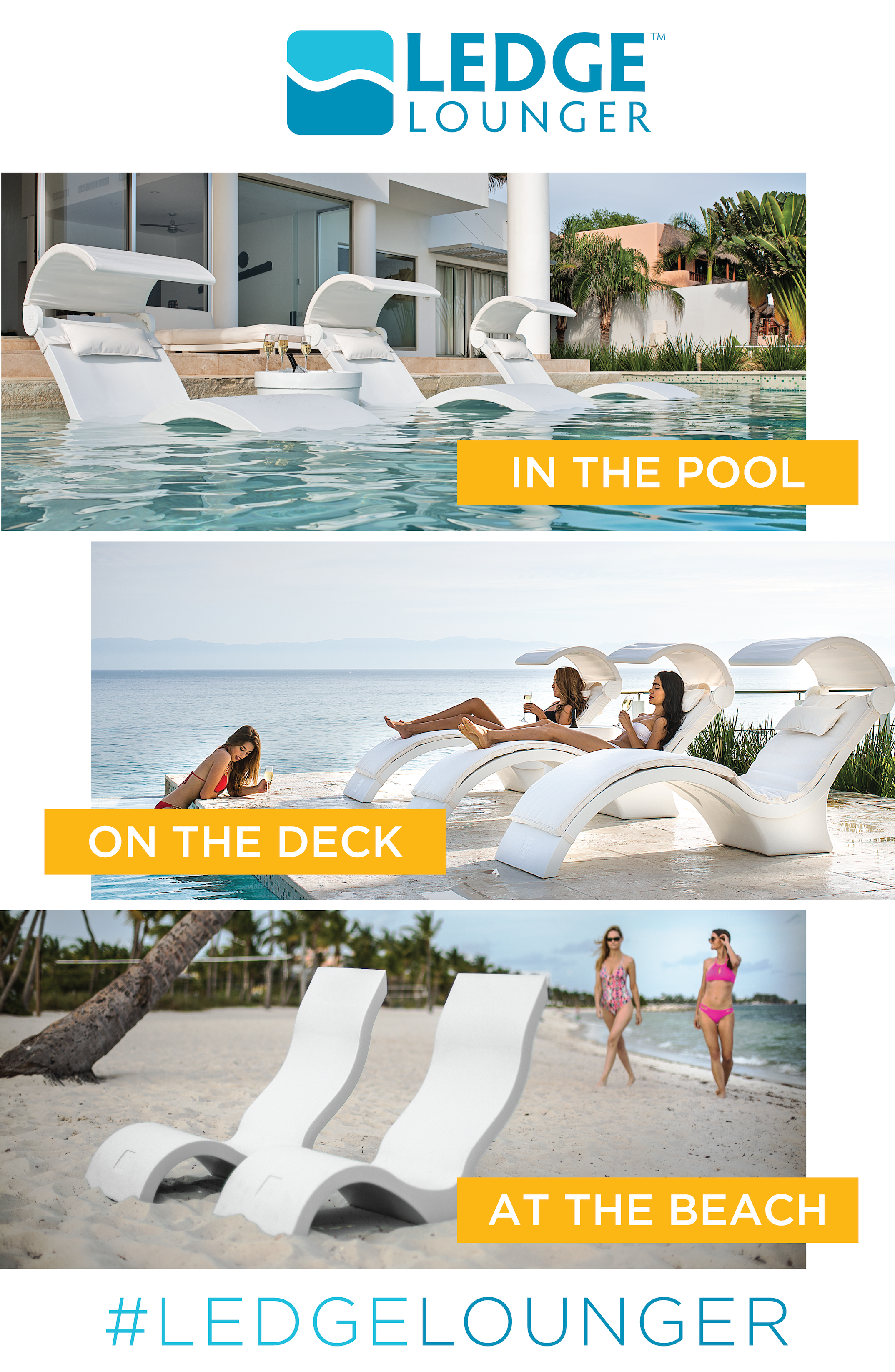 Outdoor furniture by Ledge Lounger Designed for in pool use but