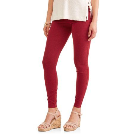 6ea153f928b683 Time and Tru Women's Full Length Soft Knit Color Jegging, Size: XXL, Red