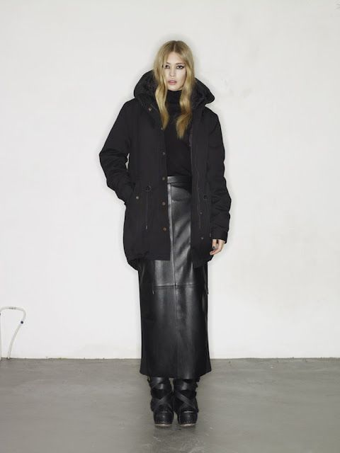 long leather skirt   parka--avelon | what i want when its colder ...