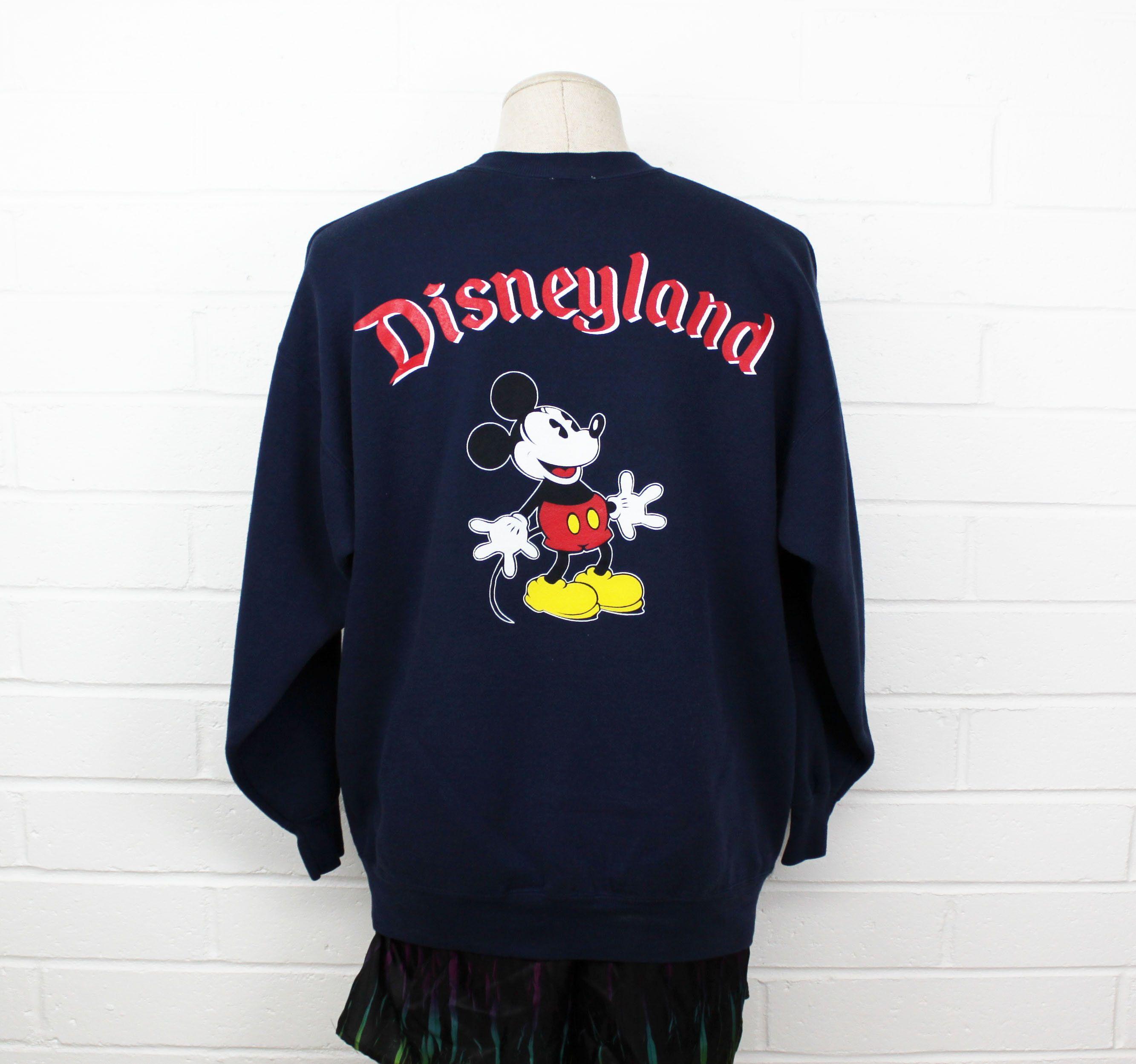 Vintage 90s Disneyland Sweatshirt XL Navy Blue Mickey Mouse