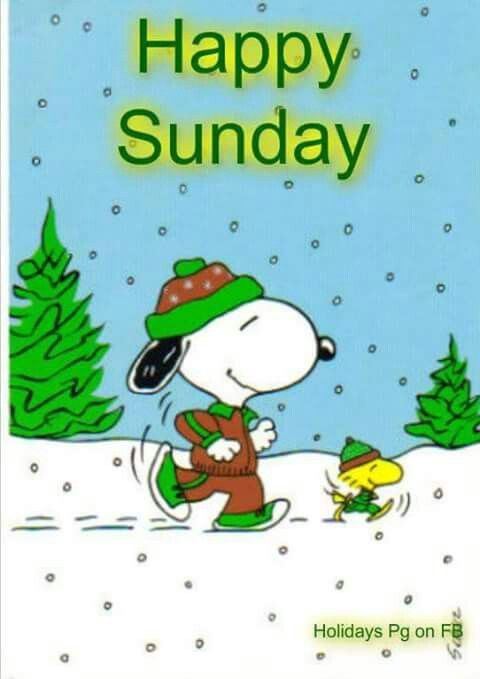 Happy Sunday Snoopy And Woodstock Dressed In Winter Running Gear
