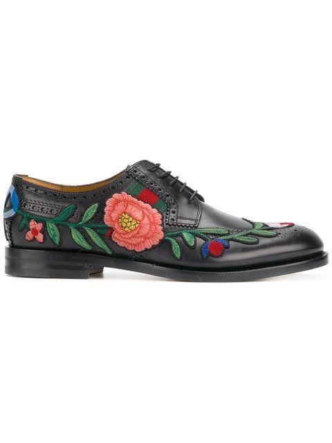 Shop Gucci floral embroidered brogues.  7078ba40b7d