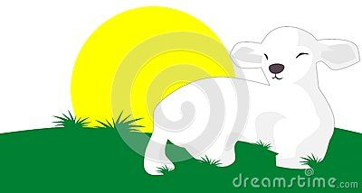 Image representing a lamb in a meadow in a sunny day. An idea that can be used also for logos.