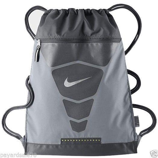 Nike Vapor Gym Sack Back Pack Backpack Book Bag Gray Volt Bookbag
