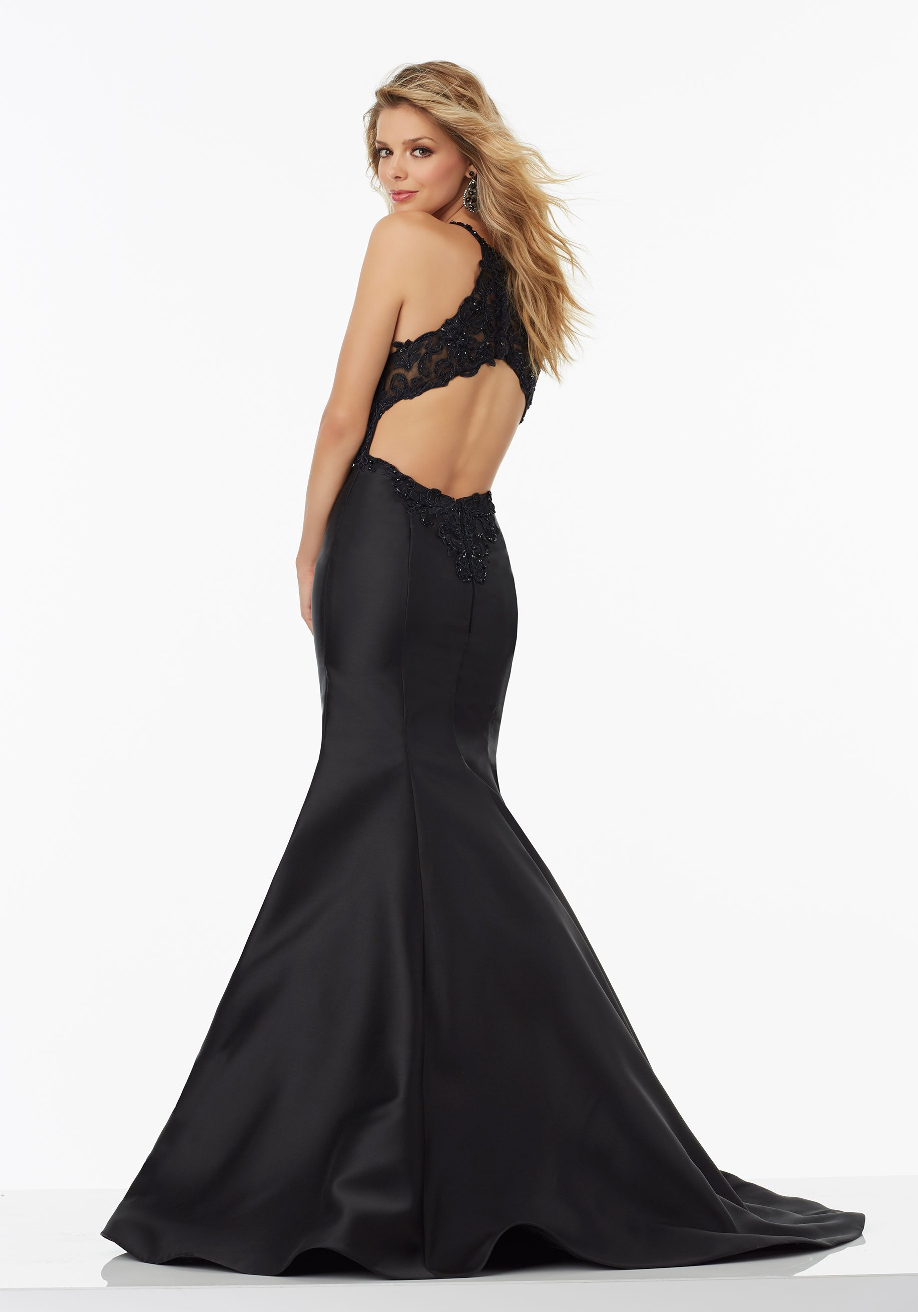 Larissa satin prom dress with beaded lace bodice and racer back