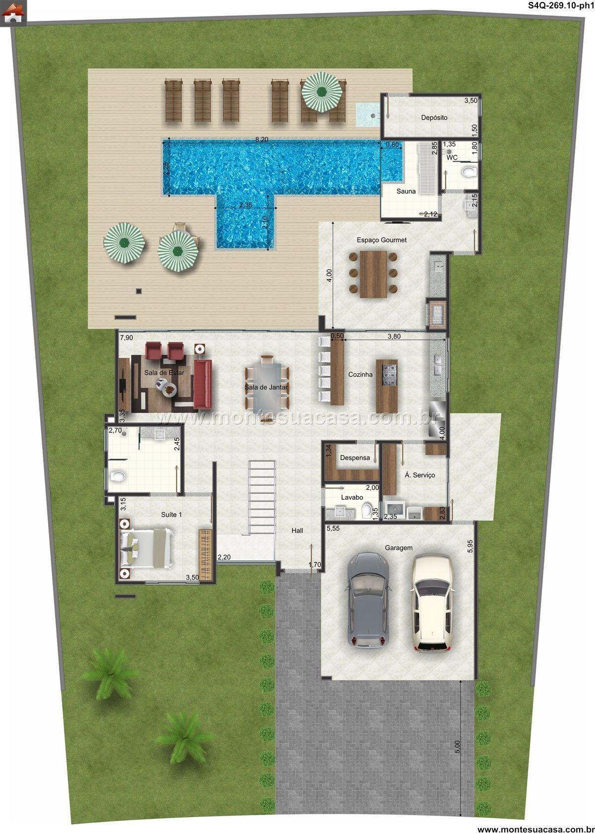 Sobrado 0 quartos projeto com piscina e sauna for Plantas para piscinas