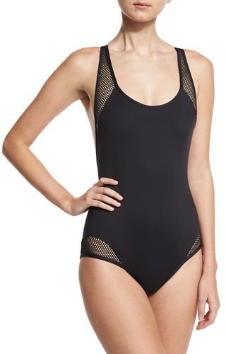 9b5e9bcd49d Carmen Marc Valvo Sporty Soul Mesh Zip-Back One-Piece Swimsuit ...