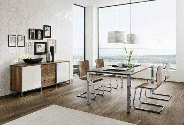 table chaises salon bois