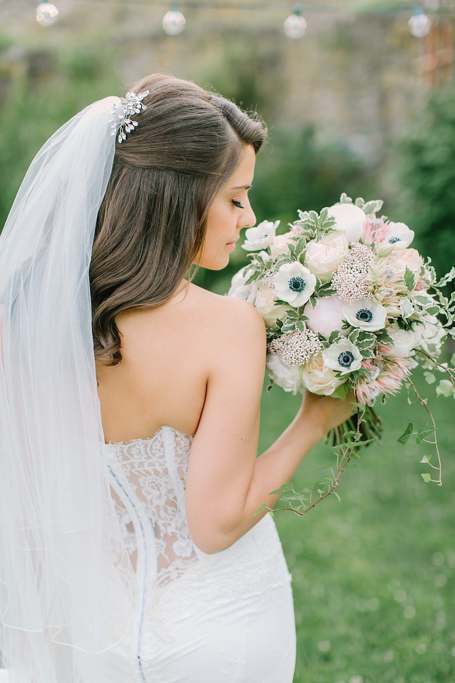 Half Up Half Down Wedding Hairstyles For Every Type Of Bride Brides Half Up Wedding Hair Bridal Hair Half Up Wedding Hair Half