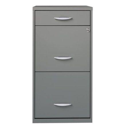Superieur Space Solutions 3 Drawer Steel File Cabinet, Platinum Grey