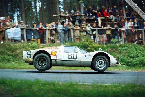 """Porsche Carrera 6 at """"Brünnchen"""" – the famous jump this time shown from a different angle…"""