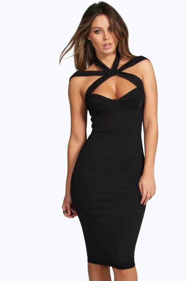 Black lace up top boohoo dresses
