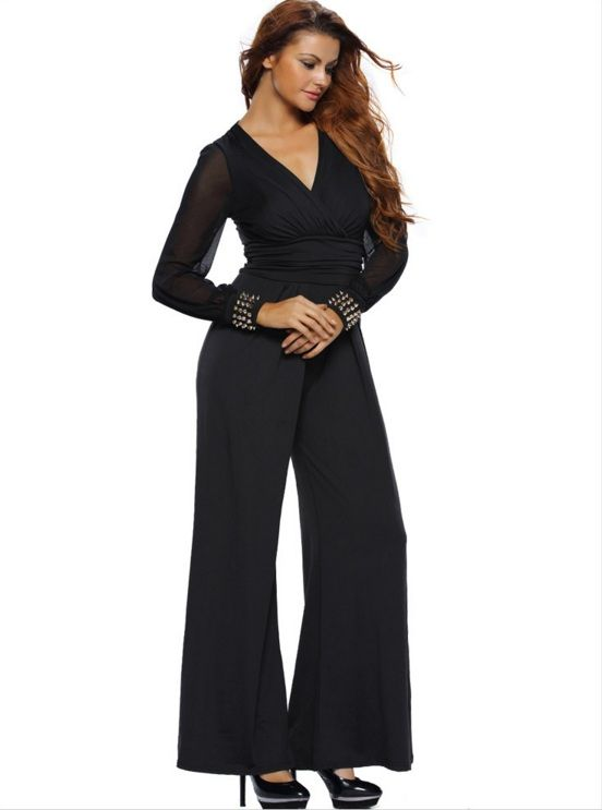 LANSHITINA Women's wear long-sleeved v-neck lace stitching jumpsuits flares plus-size women's casual pants