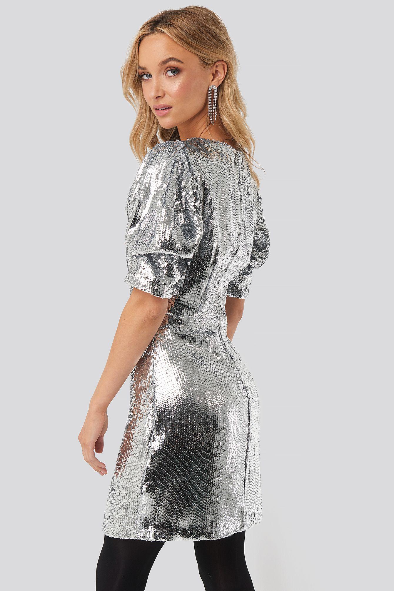 heavy sequin short puff sleeve dress in 2020   silbernes
