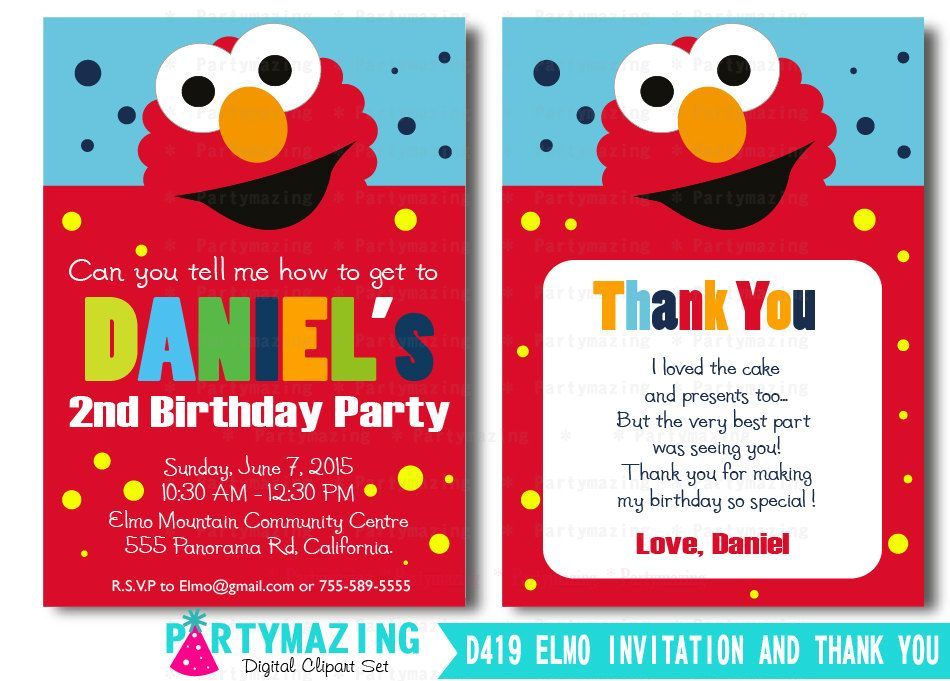 Printable elmo invitation and thank you card elmo sesame street printable elmo invitation and thank you card elmo sesame street inspired invitation d418 1500 usd stopboris Image collections