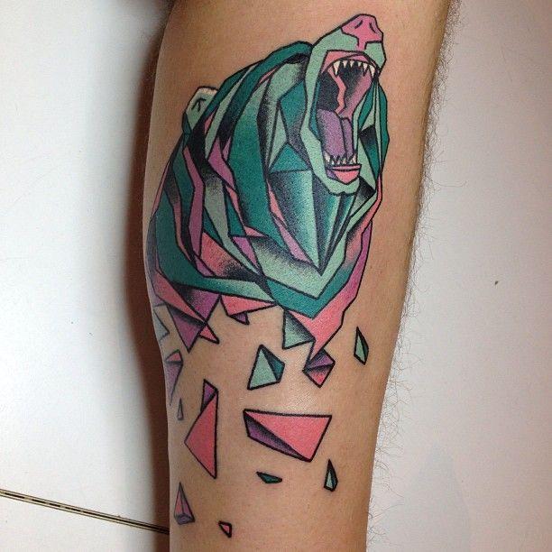 b701988f1 Colorful Geometric Bear Tattoo Design For Forearm   Bearssss   Bear ...
