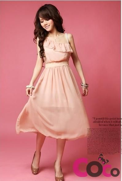 2f541750bcd2 Pastel Color Chiffon Asymmetric Midi Dress Asian Fashion Summer Collection