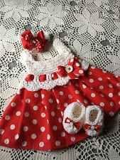Handmade Crochet Baby Set Outfit 3pc Dress Headband Shoes Red White Polka Dots
