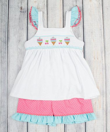 Loving this Pink Ice Cream Smocked Tank & Shorts - Infant, Toddler & Girls on #zulily! #zulilyfinds