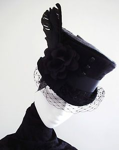 TOP HAT MOURNING VEIL GOTHIC VICTORIAN RIDING BRIDAL  e961f95506f