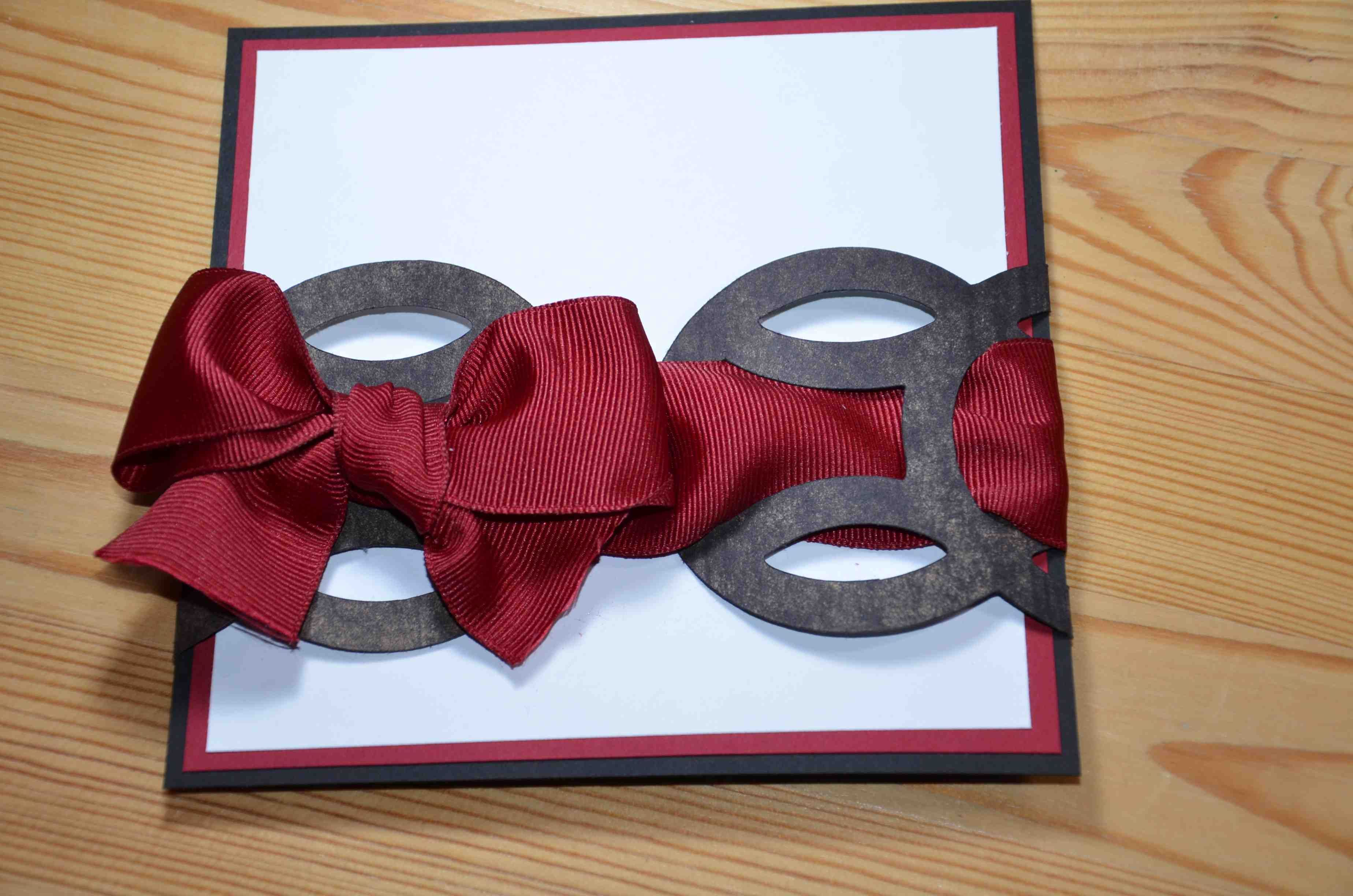 Red/Black/White paper lace with ribbon tie flat invitation ...